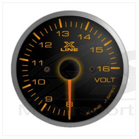 X-Line Smoke Amber LED Voltmeter 52mm