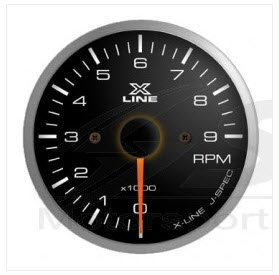 X-Line Smoke White LED Tachometer 52mm